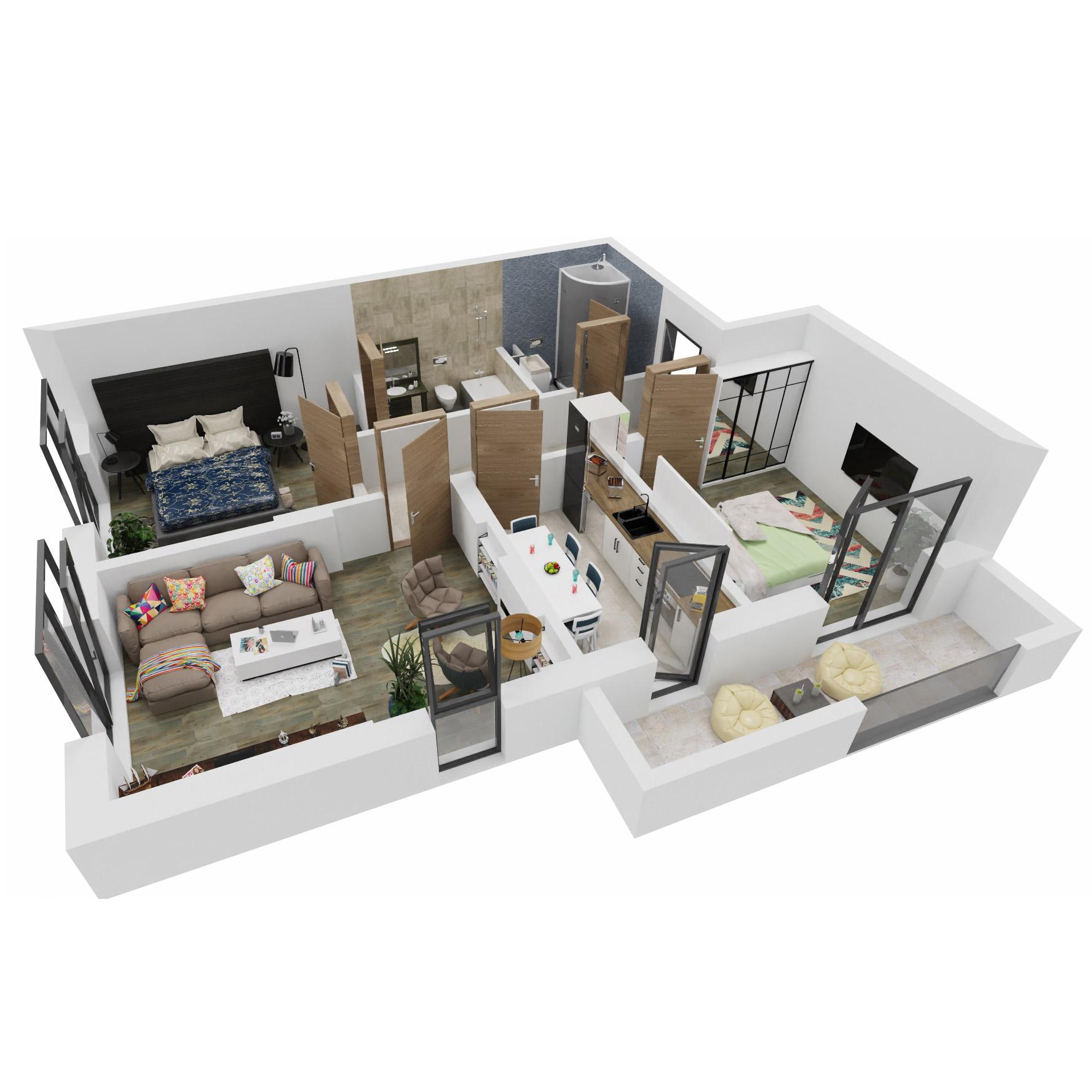Apartamente 3 camere de vanzare Bucuresti - Uverturii Residence - Militari - Lujerului - Gorjului - Tip 3 - T1 - A