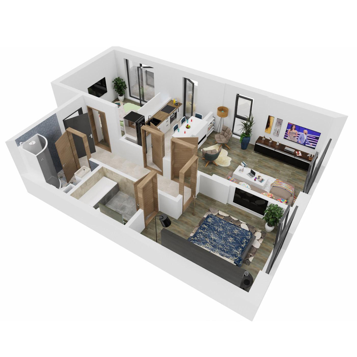 Apartamente 3 camere de vanzare Bucuresti - Uverturii Residence - Militari - Lujerului - Gorjului - Tip 3 - T1 - B