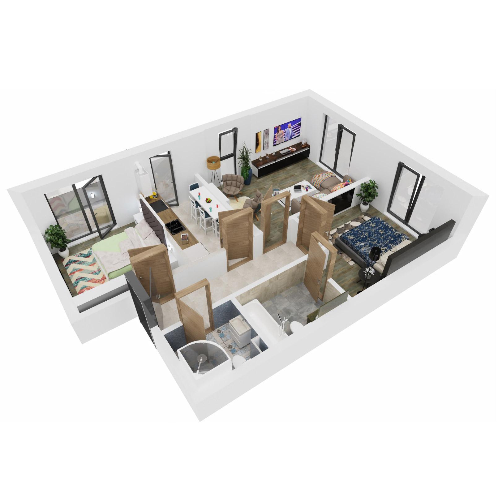 Apartamente 3 camere de vanzare Bucuresti - Uverturii Residence - Militari - Lujerului - Gorjului - Tip 3 - T1 - C
