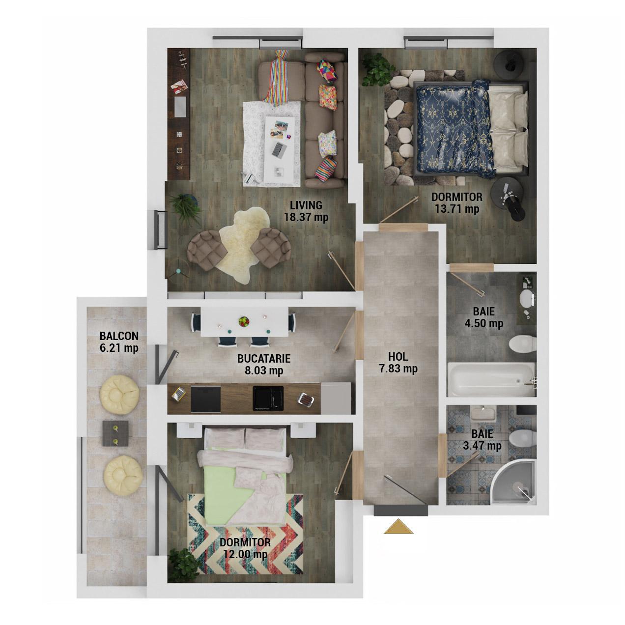 Apartamente 3 camere de vanzare Bucuresti - Uverturii Residence - Militari - Lujerului - Gorjului - Tip 3 - T1 - D
