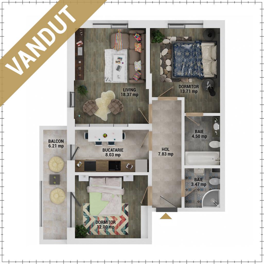 Apartamente 3 camere de vanzare Bucuresti - Uverturii Residence - Militari - Lujerului - Gorjului - Tip 3 - T1 - EV