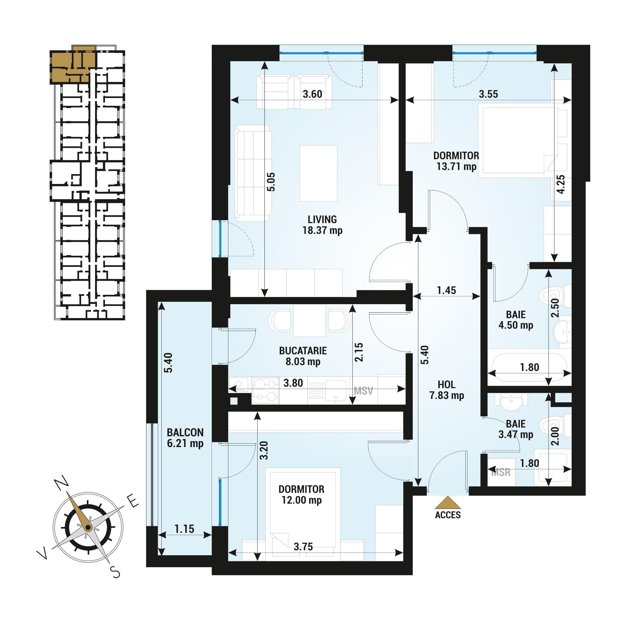 Apartamente 3 camere de vanzare Bucuresti - Uverturii Residence - Militari - Lujerului - Gorjului - Tip 3 - T1