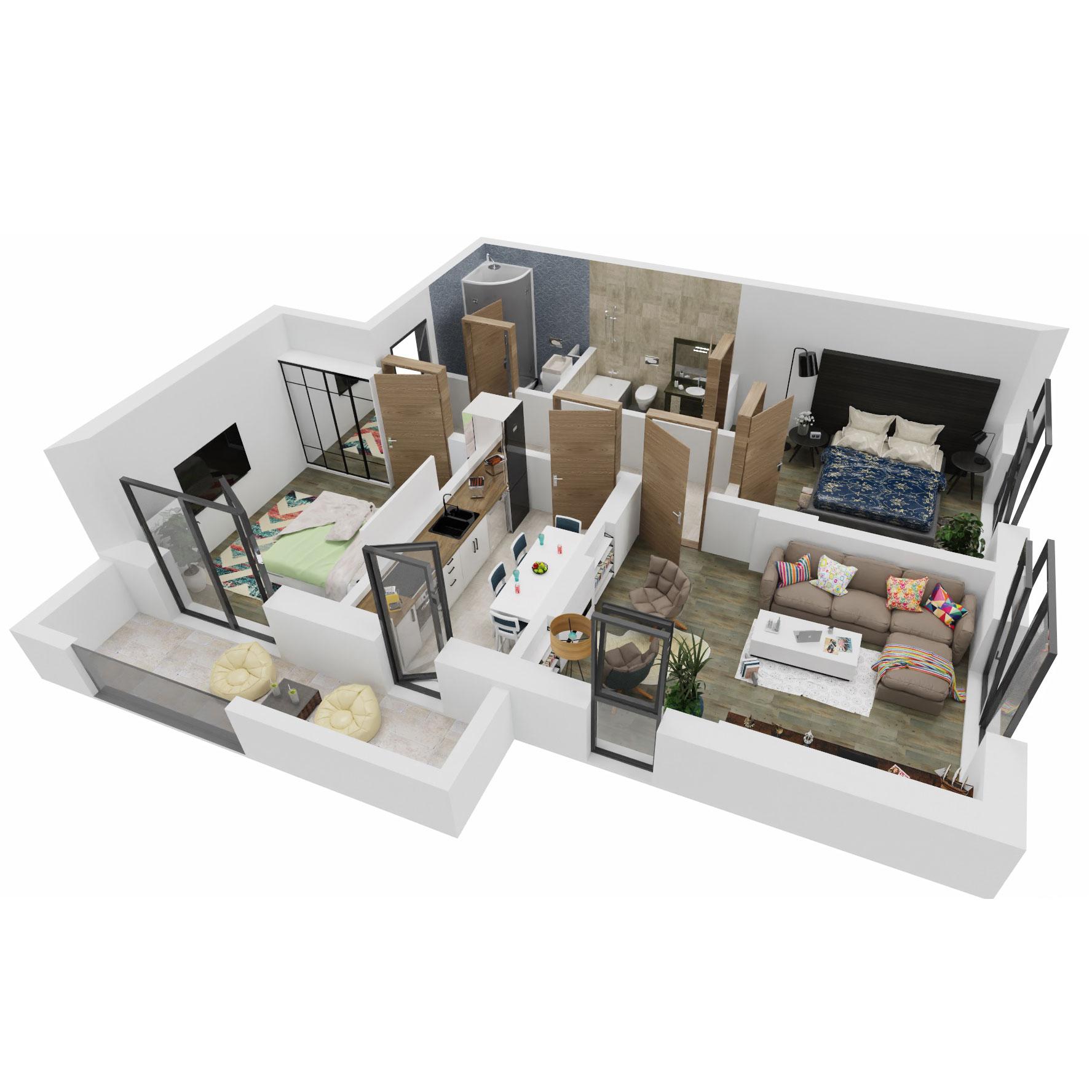 Apartamente 3 camere de vanzare Bucuresti - Uverturii Residence - Militari - Lujerului - Gorjului - Tip 3 - T3 - A