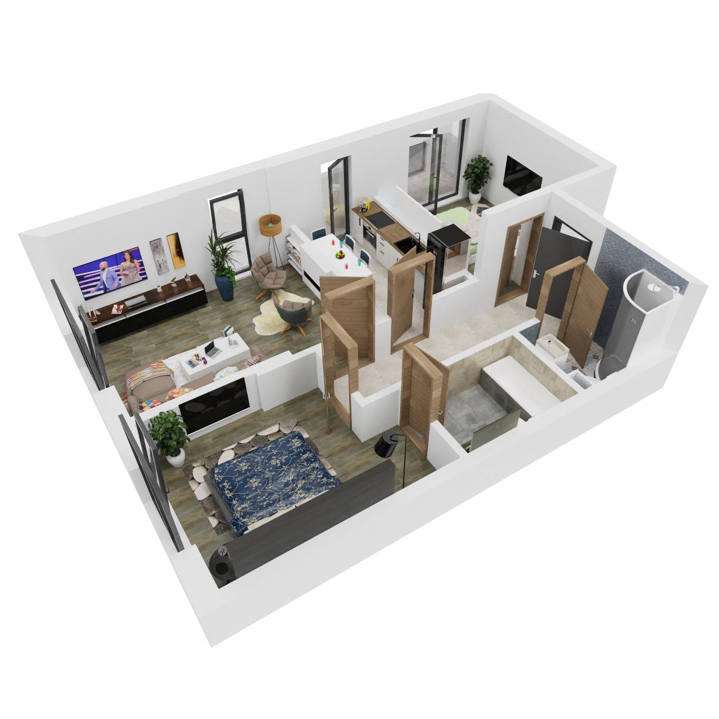 Apartamente 3 camere de vanzare Bucuresti - Uverturii Residence - Militari - Lujerului - Gorjului - Tip 3 - T3 - B