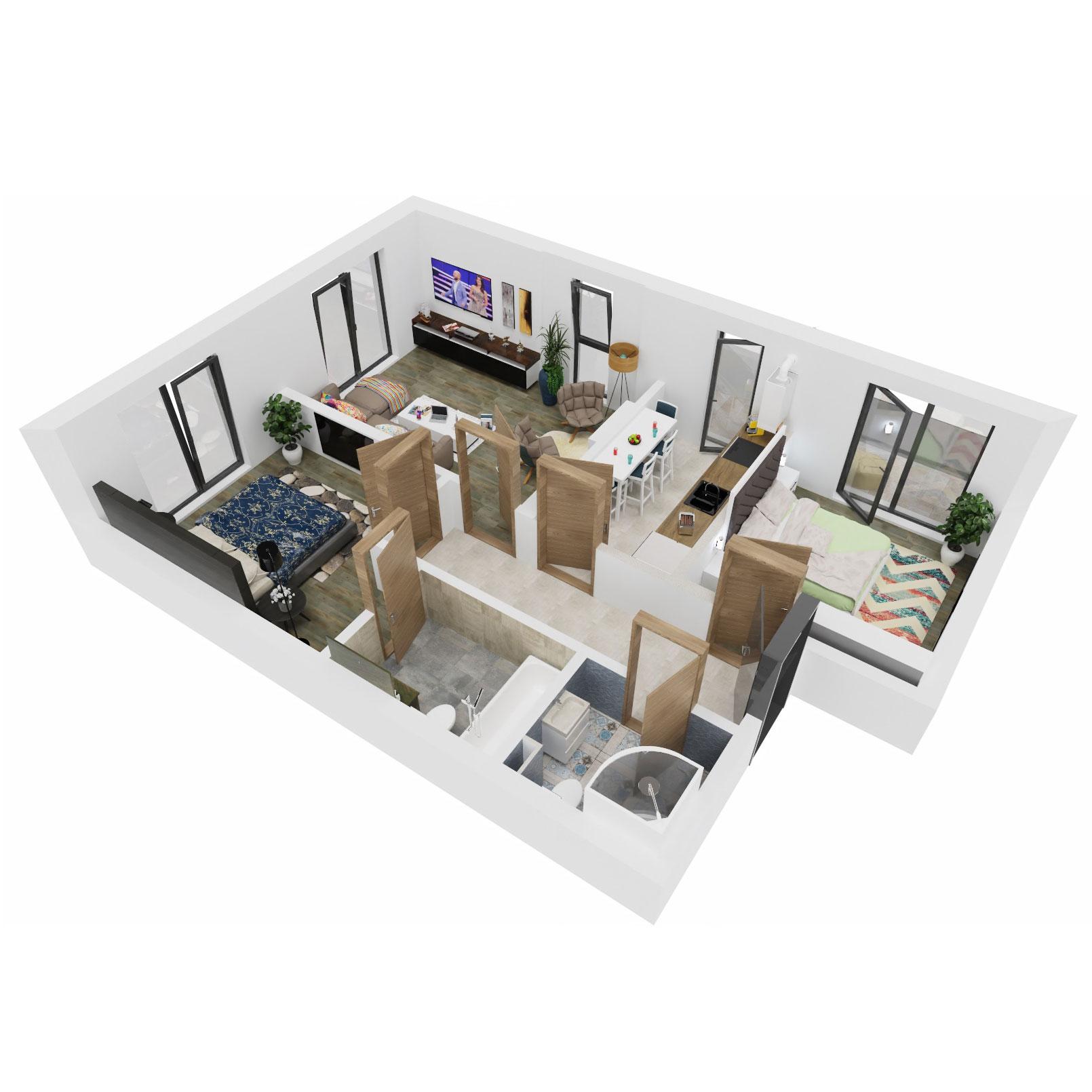 Apartamente 3 camere de vanzare Bucuresti - Uverturii Residence - Militari - Lujerului - Gorjului - Tip 3 - T3 - C