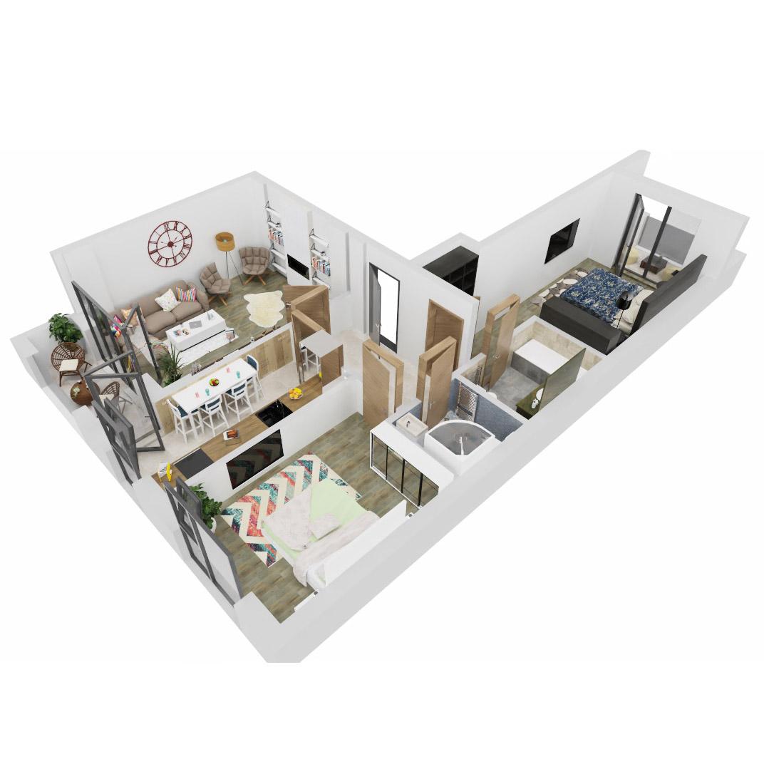 Apartamente 3 camere de vanzare Bucuresti - Uverturii Residence - Militari - Lujerului - Gorjului - Tip 4 - T1 - B