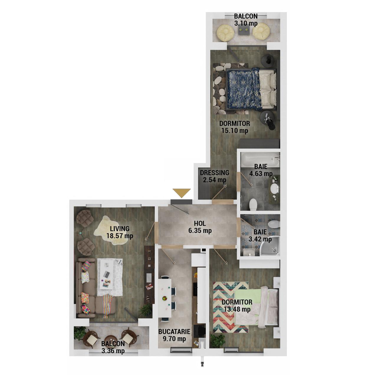 Apartamente 3 camere de vanzare Bucuresti - Uverturii Residence - Militari - Lujerului - Gorjului - Tip 4 - T1 - D