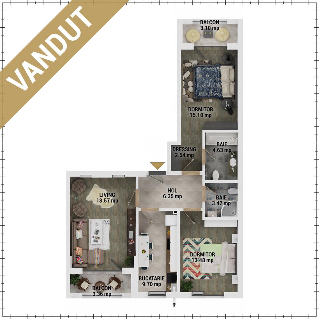 Apartamente 3 camere de vanzare Bucuresti - Uverturii Residence - Militari - Lujerului - Gorjului - Tip 4 - T1 - V