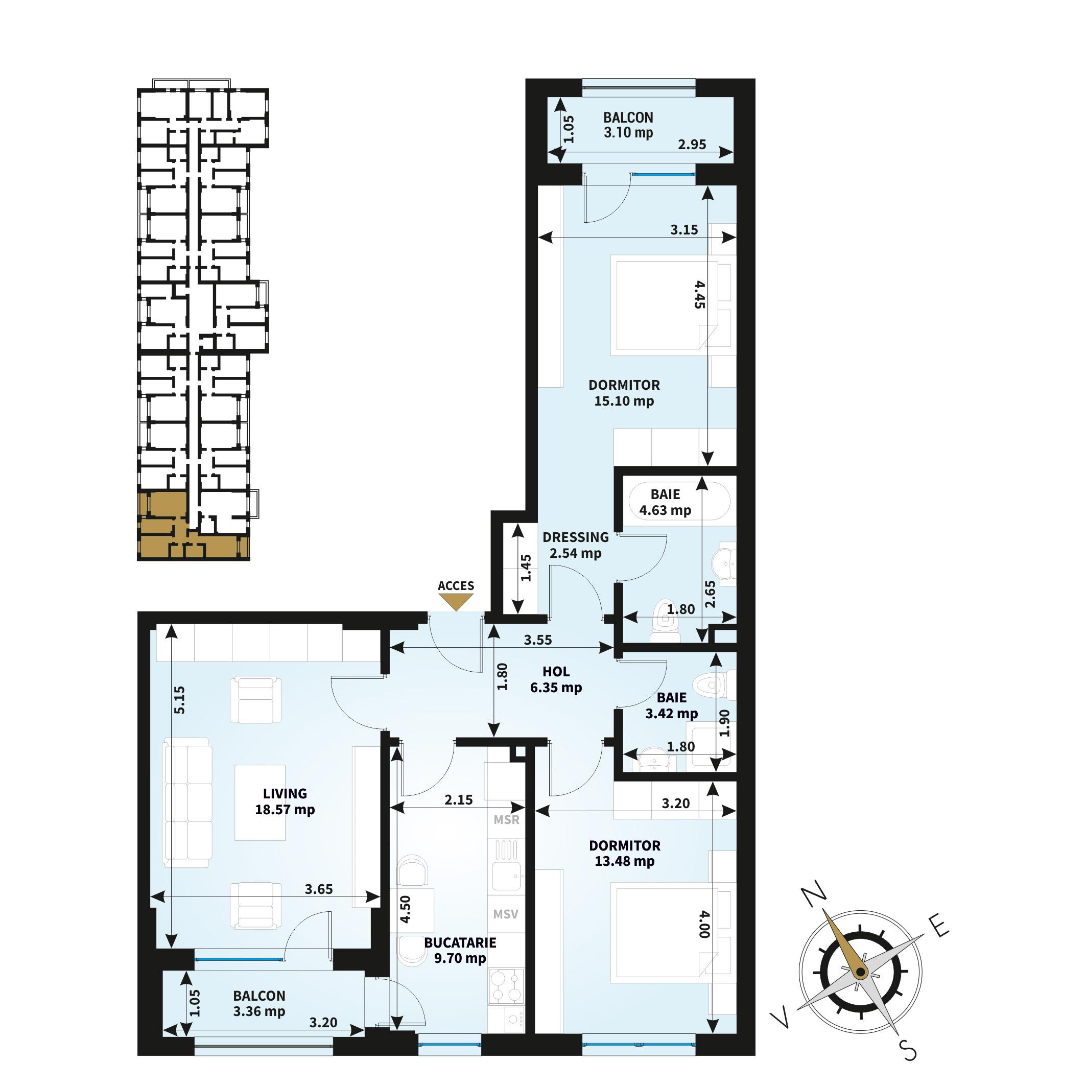 Apartamente 3 camere de vanzare Bucuresti - Uverturii Residence - Militari - Lujerului - Gorjului - Tip 4 - T1