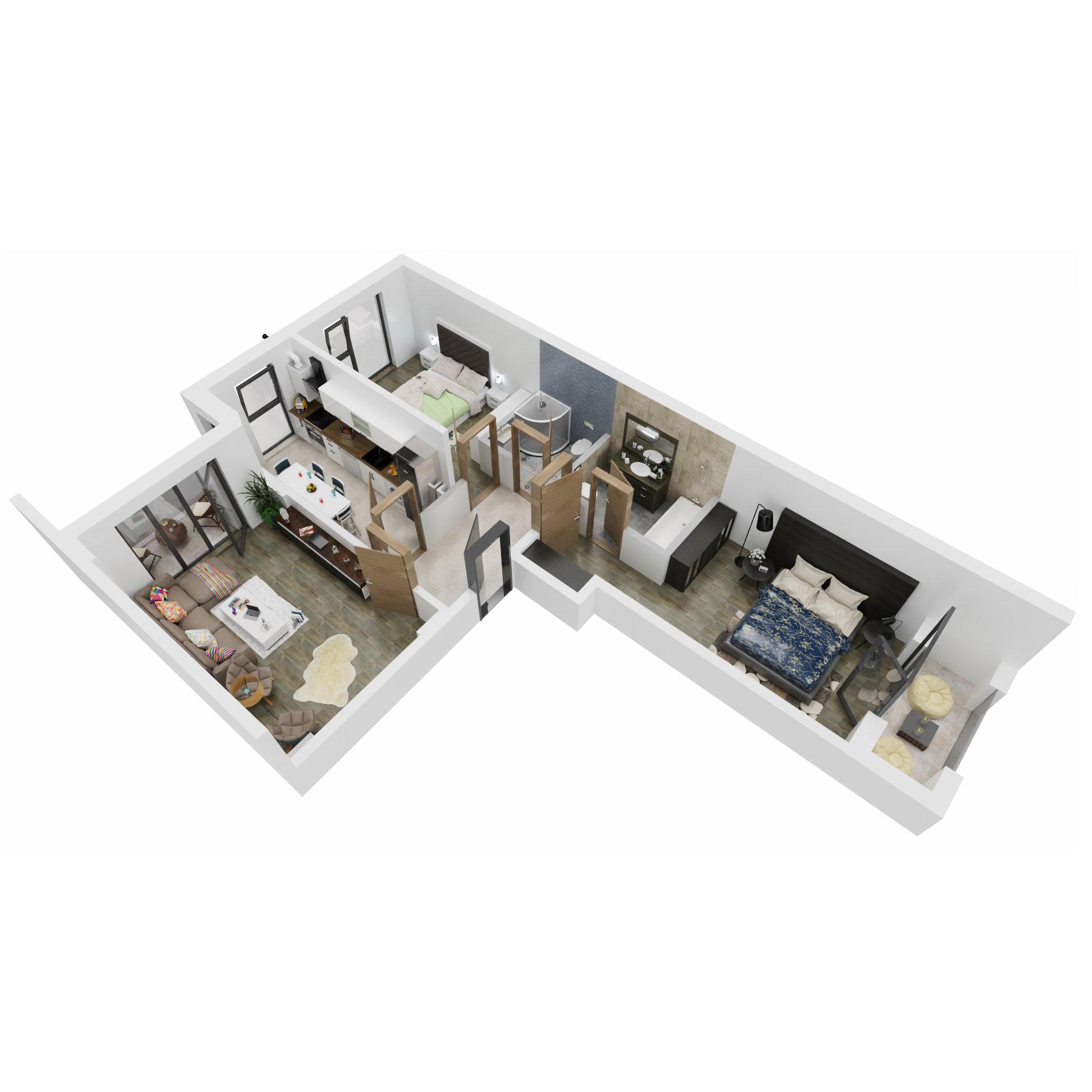 Apartamente 3 camere de vanzare Bucuresti - Uverturii Residence - Militari - Lujerului - Gorjului - Tip 4 - T3 - A