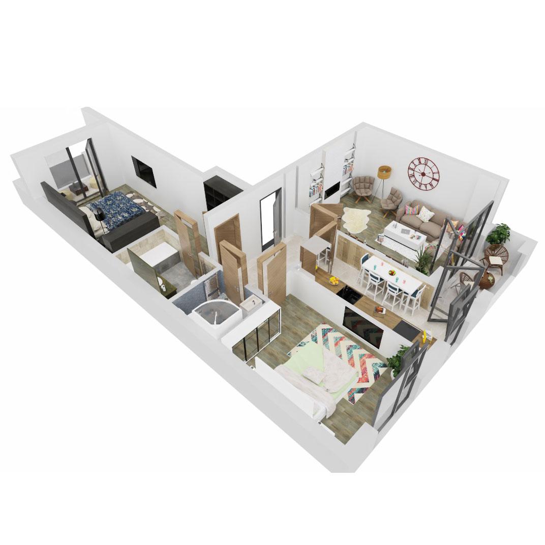 Apartamente 3 camere de vanzare Bucuresti - Uverturii Residence - Militari - Lujerului - Gorjului - Tip 4 - T3 - B