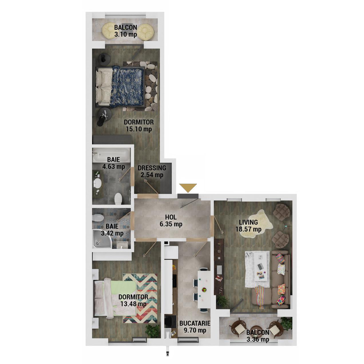 Apartamente 3 camere de vanzare Bucuresti - Uverturii Residence - Militari - Lujerului - Gorjului - Tip 4 - T3 - E