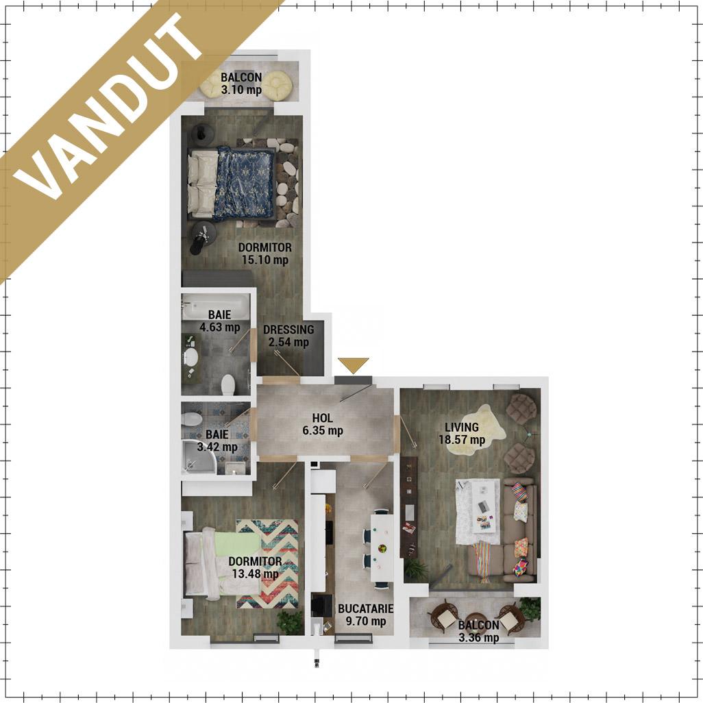 Apartamente 3 camere de vanzare Bucuresti - Uverturii Residence - Militari - Lujerului - Gorjului - Tip 4 - T3 - FV