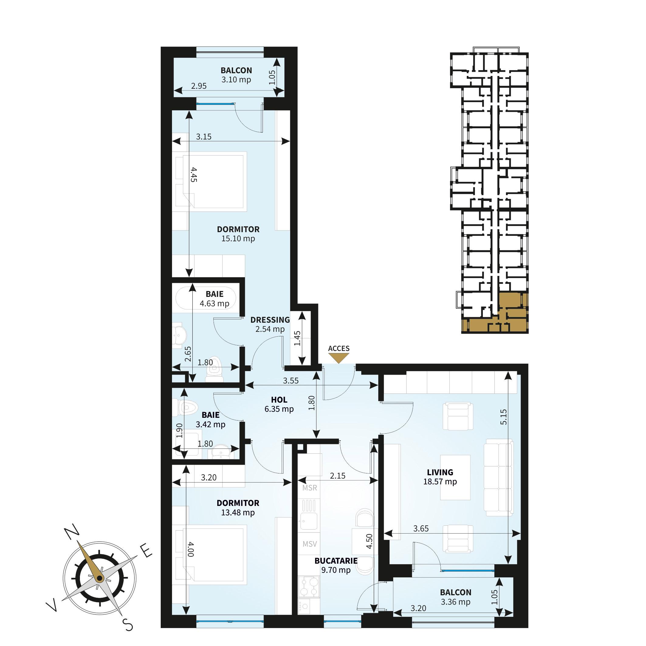 Apartamente 3 camere de vanzare Bucuresti - Uverturii Residence - Militari - Lujerului - Gorjului - Tip 4 - T3