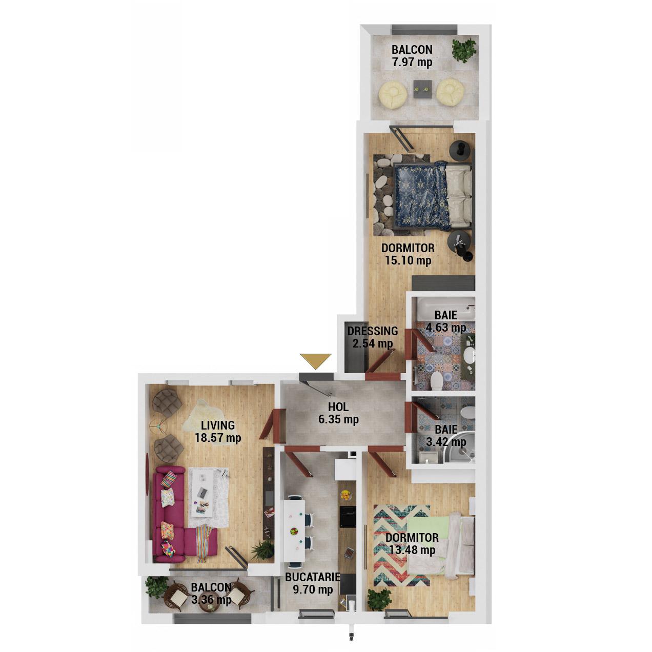 Apartamente 3 camere de vanzare Bucuresti - Uverturii Residence - Militari - Lujerului - Gorjului - Tip 5 - T1 - D