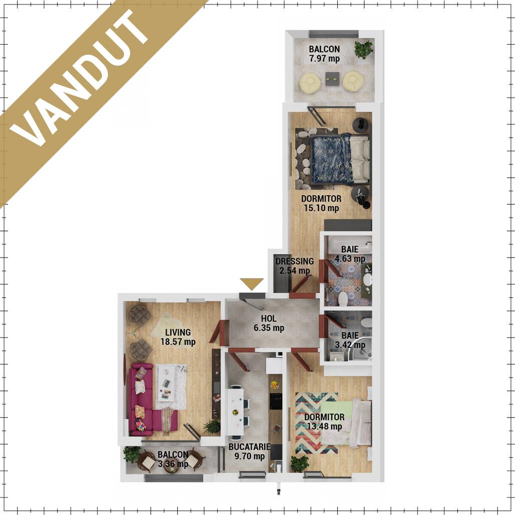 Apartamente 3 camere de vanzare Bucuresti - Uverturii Residence - Militari - Lujerului - Gorjului - Tip 5 - T1 - EV