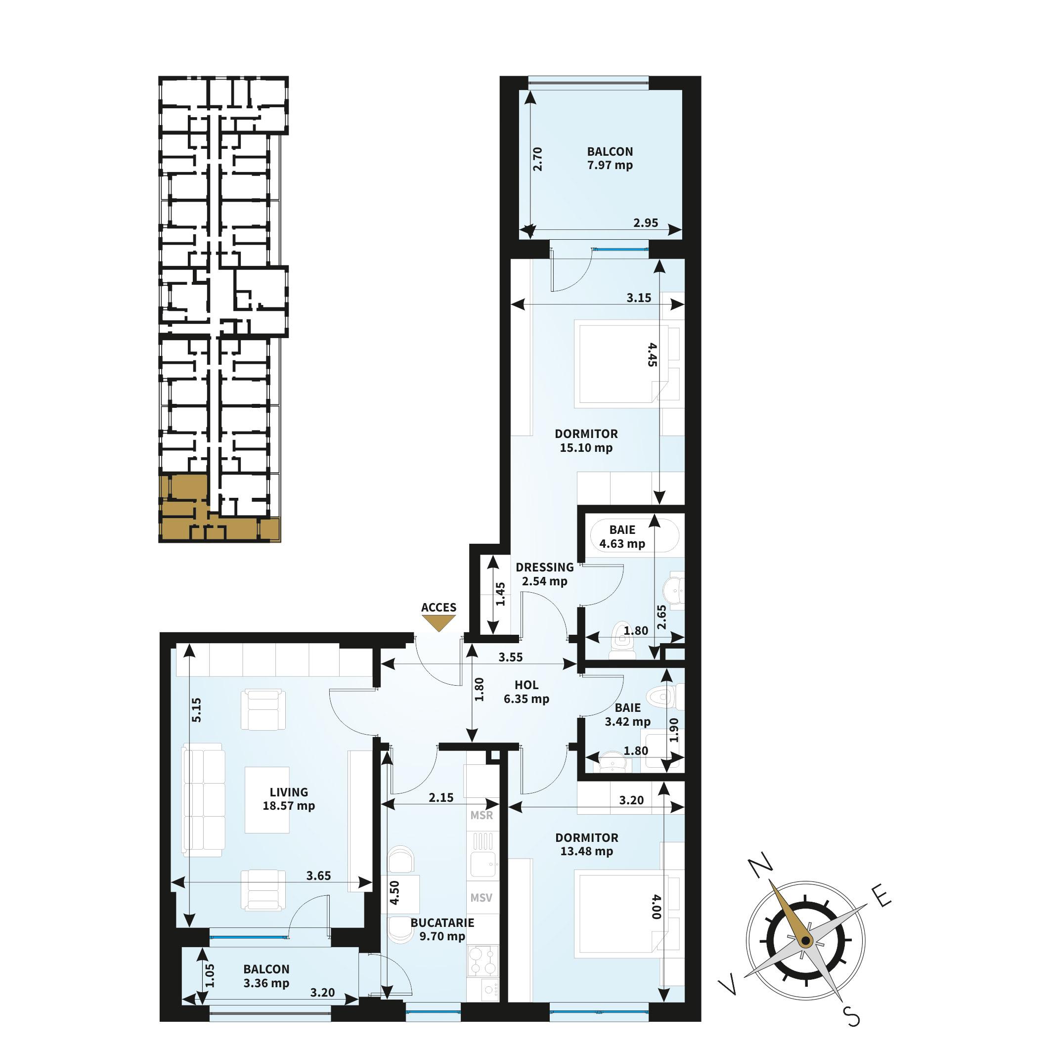 Apartamente 3 camere de vanzare Bucuresti - Uverturii Residence - Militari - Lujerului - Gorjului - Tip 5 - T1