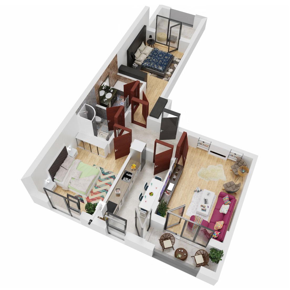 Apartamente 3 camere de vanzare Bucuresti - Uverturii Residence - Militari - Lujerului - Gorjului - Tip 5 - T3 - C