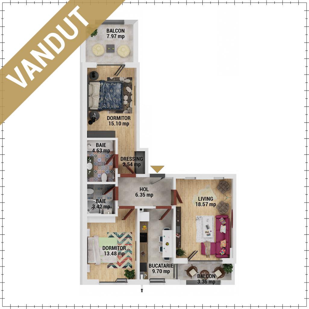 Apartamente 3 camere de vanzare Bucuresti - Uverturii Residence - Militari - Lujerului - Gorjului - Tip 5 - T3 - FV