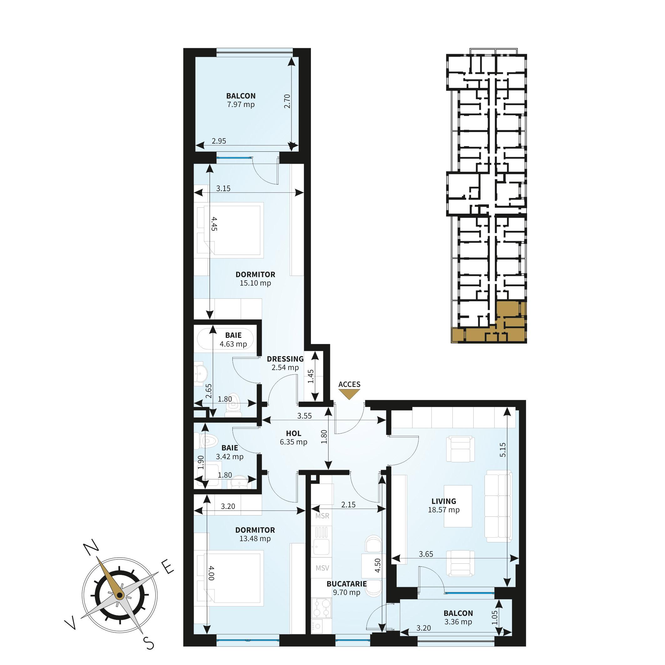 Apartamente 3 camere de vanzare Bucuresti - Uverturii Residence - Militari - Lujerului - Gorjului - Tip 5 - T3