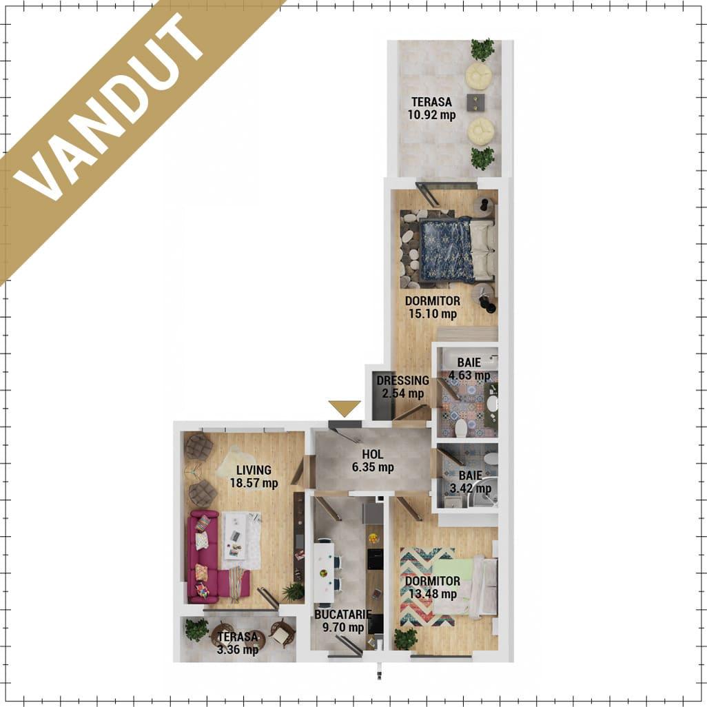 Apartamente 3 camere de vanzare Bucuresti - Uverturii Residence - Militari - Lujerului - Gorjului - Tip 6 - T1 - EV