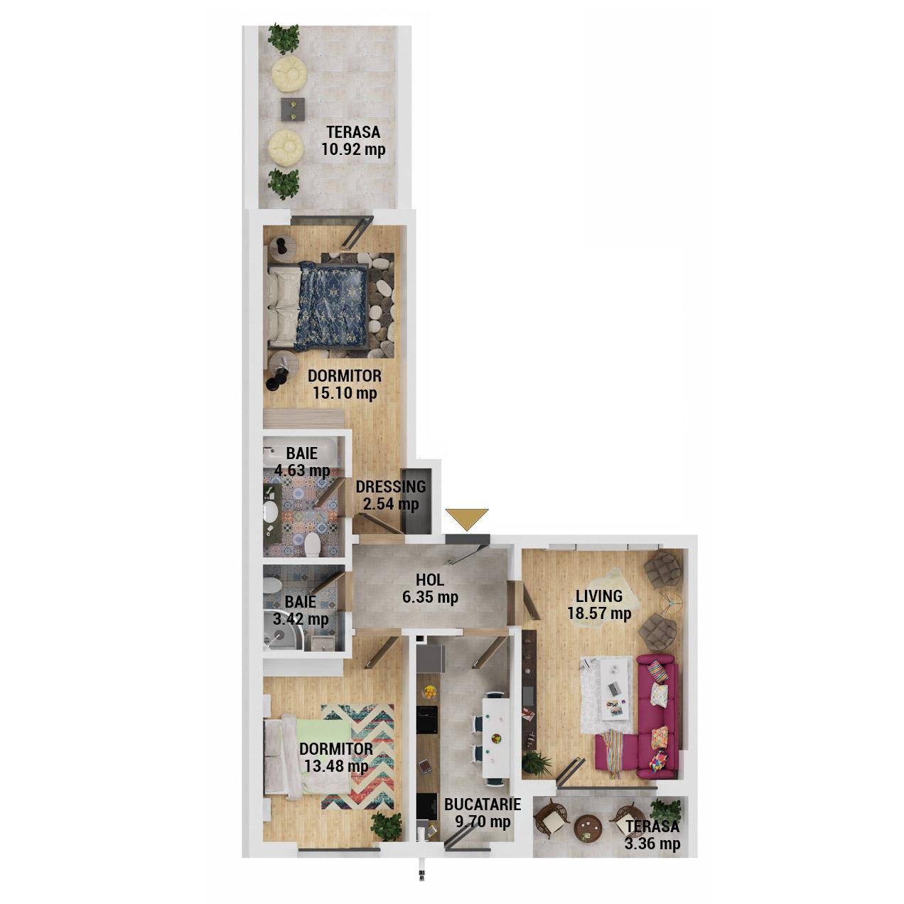 Apartamente 3 camere de vanzare Bucuresti - Uverturii Residence - Militari - Lujerului - Gorjului - Tip 6 - T3 - E