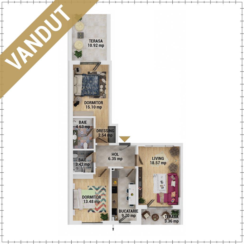 Apartamente 3 camere de vanzare Bucuresti - Uverturii Residence - Militari - Lujerului - Gorjului - Tip 6 - T3 - FV