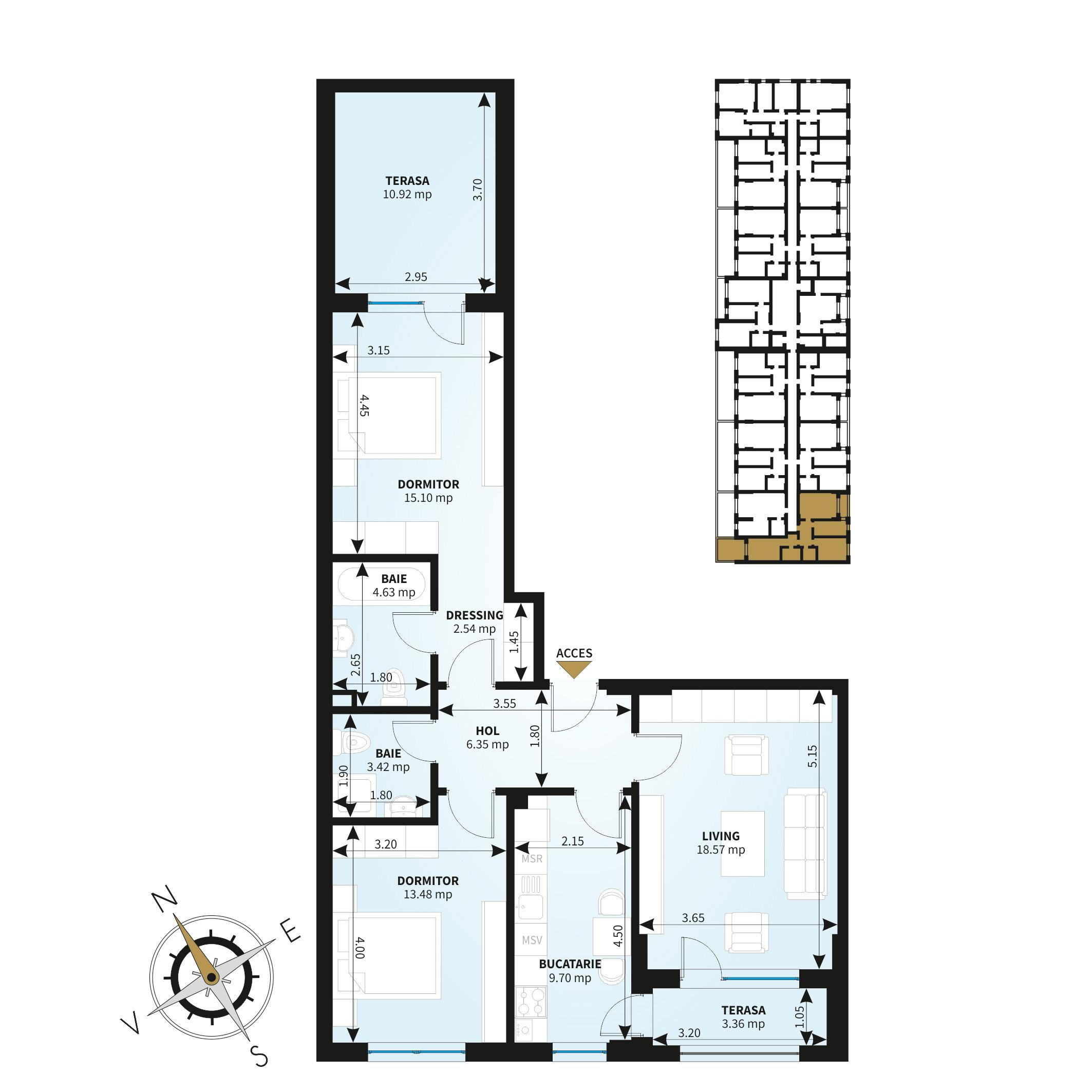 Apartamente 3 camere de vanzare Bucuresti - Uverturii Residence - Militari - Lujerului - Gorjului - Tip 6 - T3