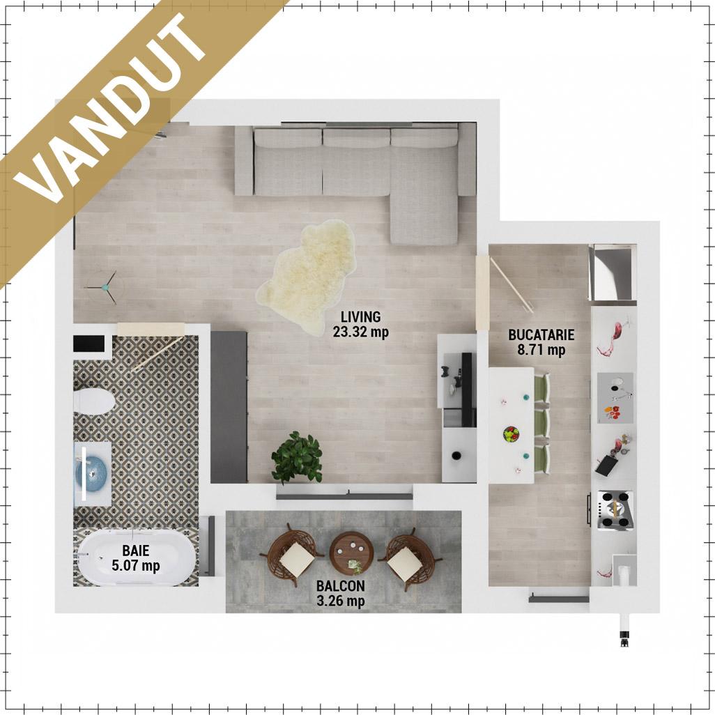 Garsoniera de vanzare Bucuresti - Uverturii Residence - Militari - Lujerului - Gorjului - Tip 2 - T3 - FV