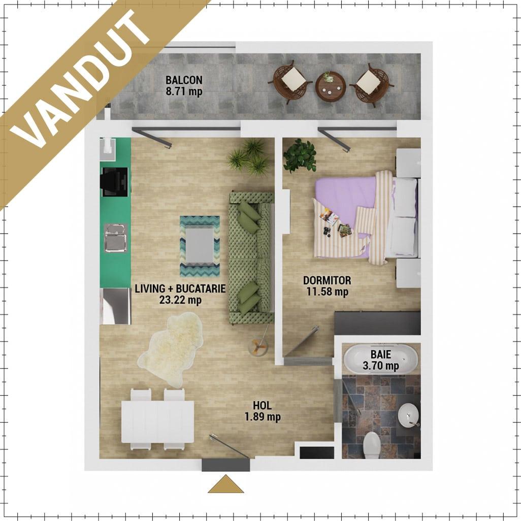 Apartament 2 camere de vanzare Bucuresti - Uverturii Residence - Militari - Lujerului - Gorjului - Tip 1 - T2 - V