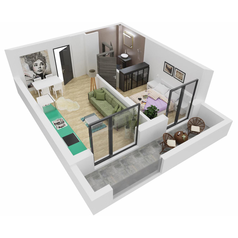 Apartament 2 camere de vanzare Bucuresti - Uverturii Residence - Militari - Lujerului - Gorjului - Tip 2 - T2 - A