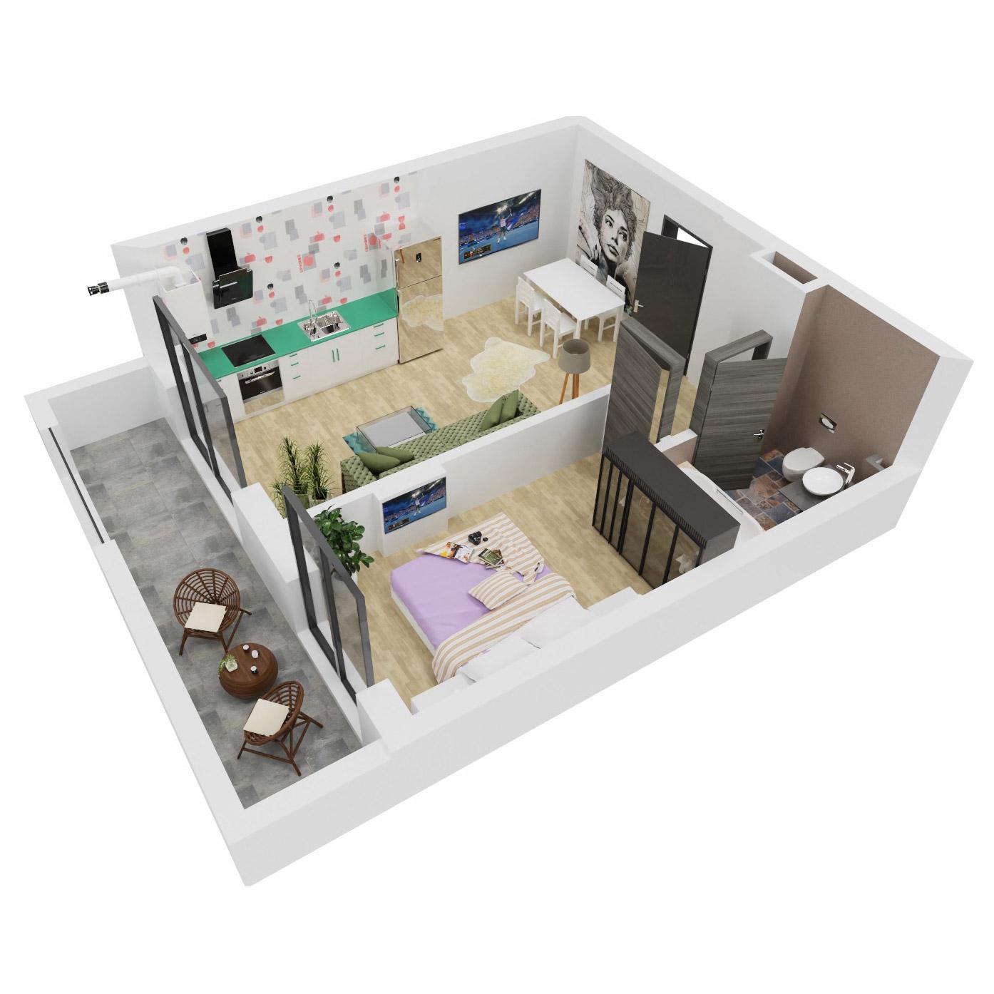 Apartament 2 camere de vanzare Bucuresti - Uverturii Residence - Militari - Lujerului - Gorjului - Tip 2 - T2 - B