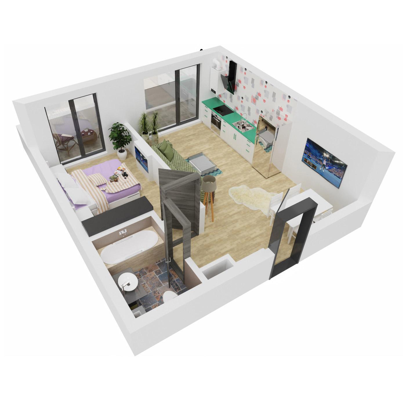 Apartament 2 camere de vanzare Bucuresti - Uverturii Residence - Militari - Lujerului - Gorjului - Tip 2 - T2 - C