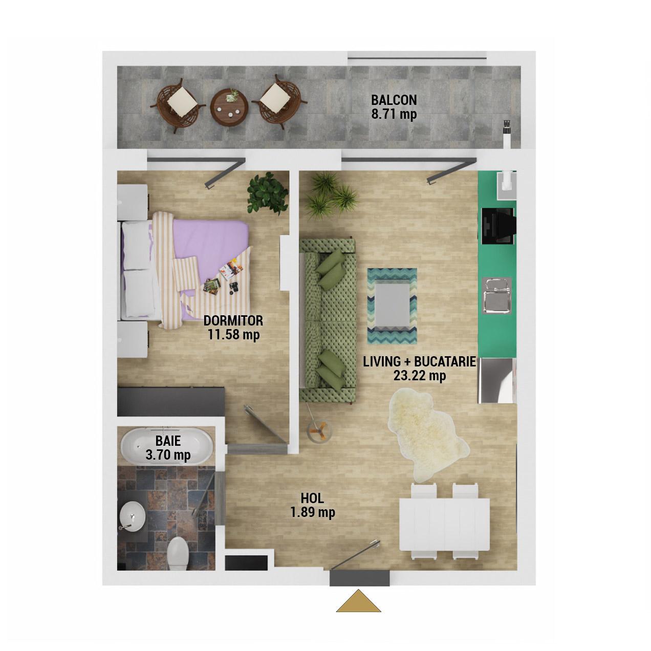 Apartament 2 camere de vanzare Bucuresti - Uverturii Residence - Militari - Lujerului - Gorjului - Tip 2 - T2 - D