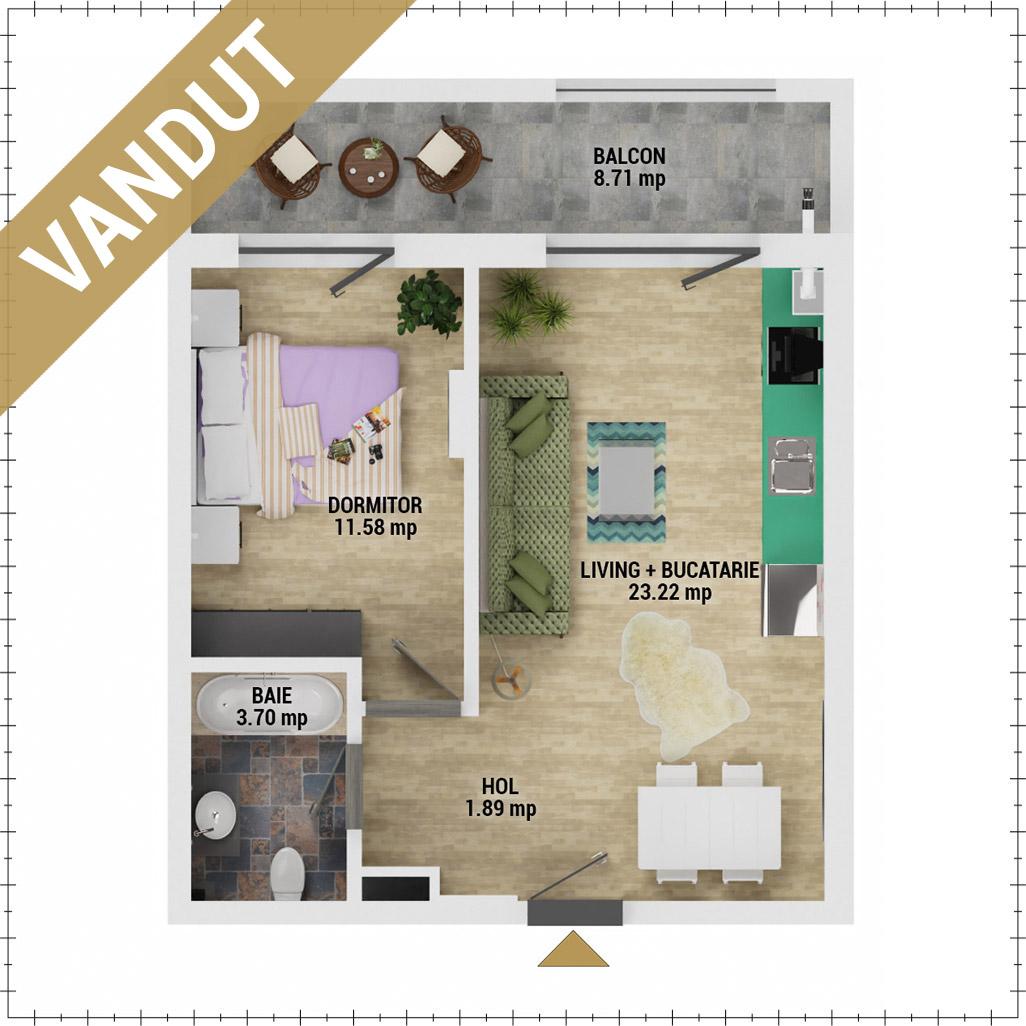 Apartament 2 camere de vanzare Bucuresti - Uverturii Residence - Militari - Lujerului - Gorjului - Tip 2 - T2 - V