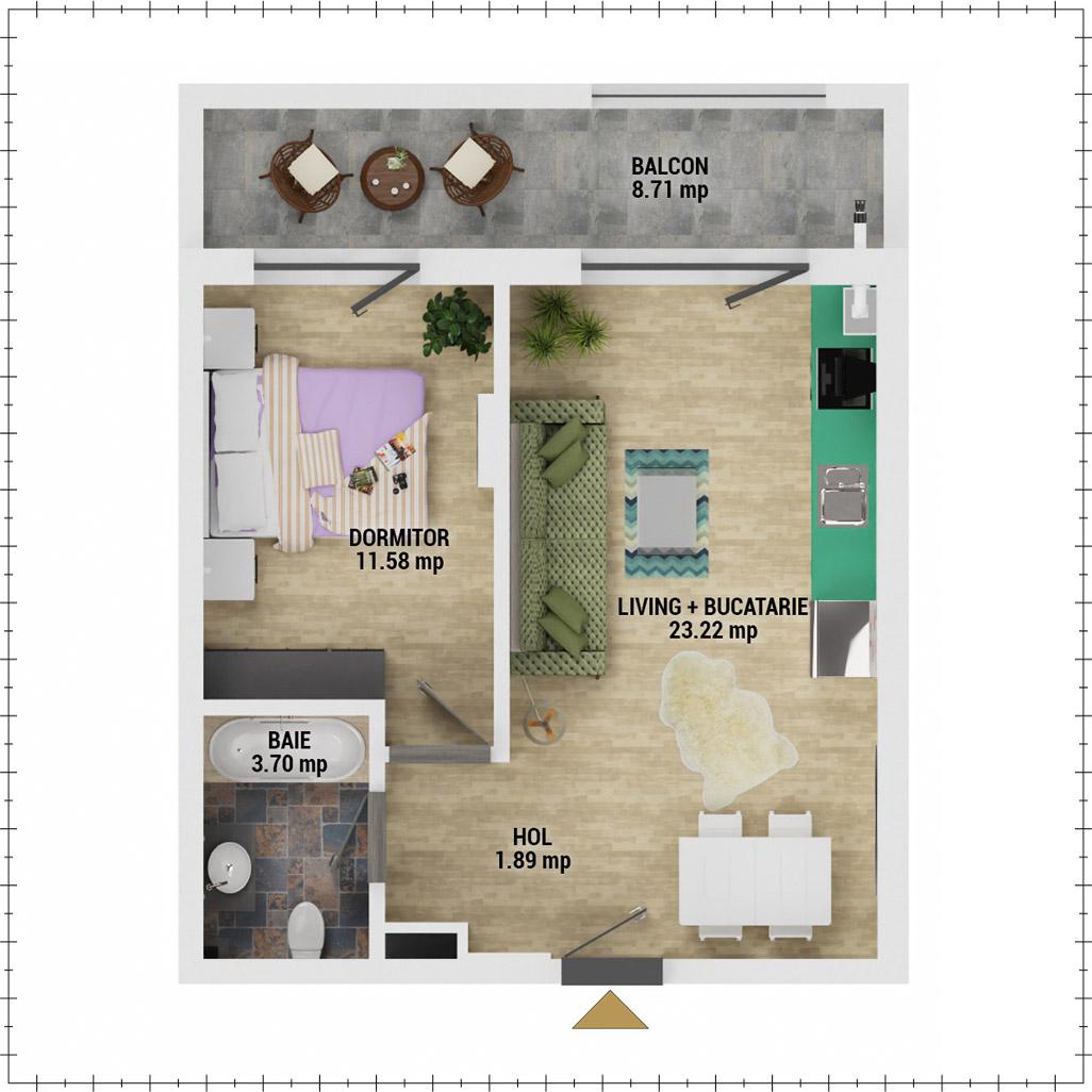 Apartament 2 camere de vanzare Bucuresti - Uverturii Residence - Militari - Lujerului - Gorjului - Tip 2 - T2 - E