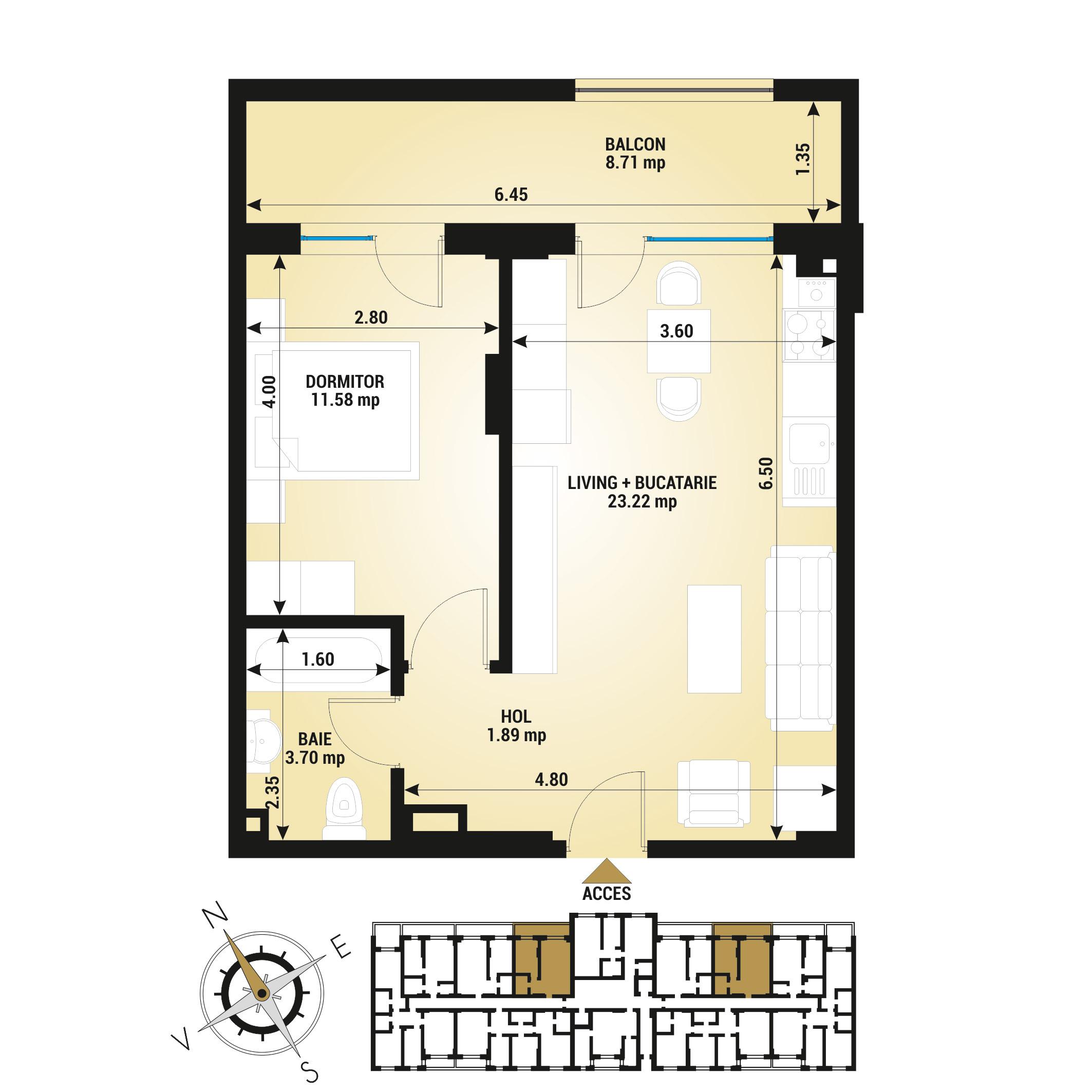 Apartament 2 camere de vanzare Bucuresti - Uverturii Residence - Militari - Lujerului - Gorjului - Tip 2 - T2