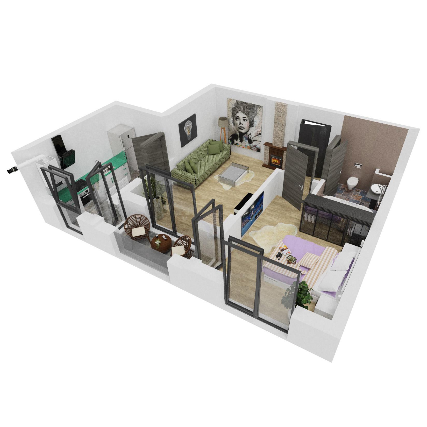 Apartament 2 camere de vanzare Bucuresti - Uverturii Residence - Militari - Lujerului - Gorjului - Tip 3 - T2 - A
