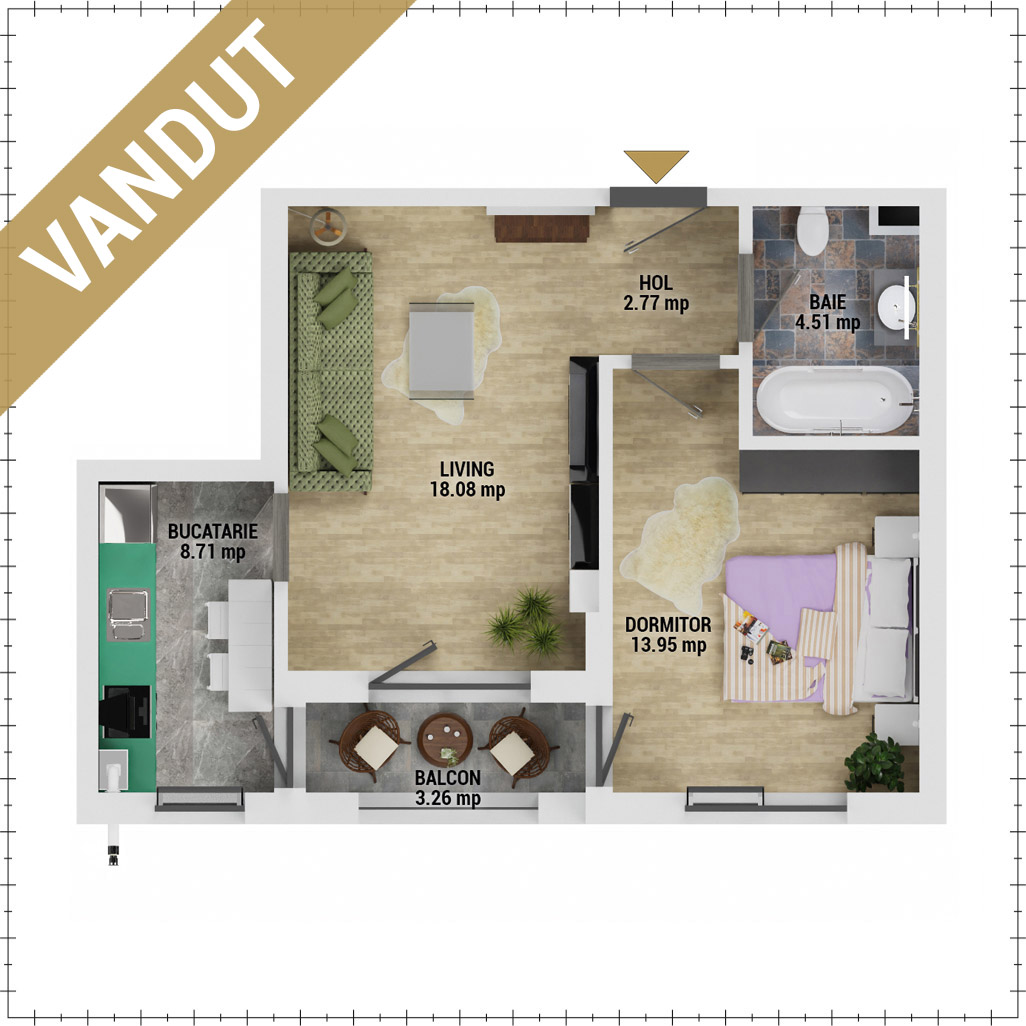 Apartament 2 camere de vanzare Bucuresti - Uverturii Residence - Militari - Lujerului - Gorjului - Tip 3 - T2 - EV