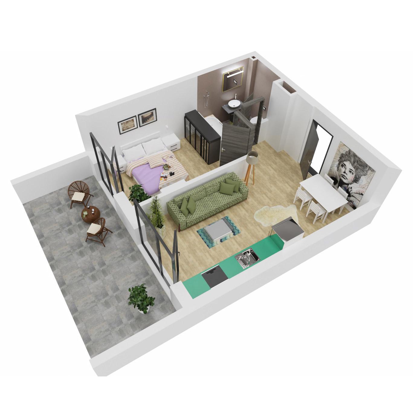 Apartament 2 camere de vanzare Bucuresti - Uverturii Residence - Militari - Lujerului - Gorjului - Tip 4 - T2 - A