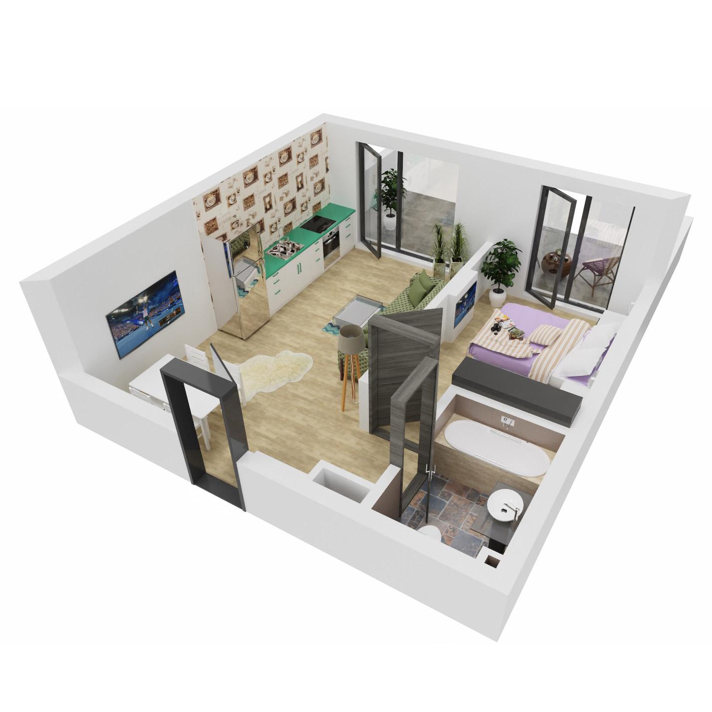 Apartament 2 camere de vanzare Bucuresti - Uverturii Residence - Militari - Lujerului - Gorjului - Tip 4 - T2 - B