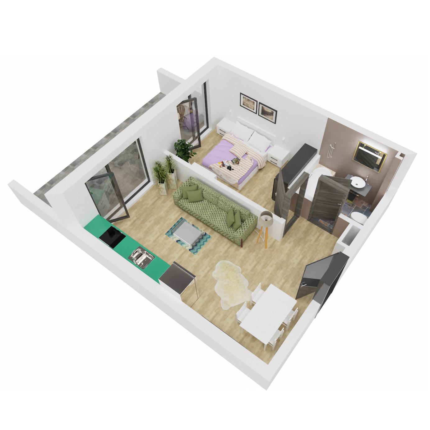 Apartament 2 camere de vanzare Bucuresti - Uverturii Residence - Militari - Lujerului - Gorjului - Tip 4 - T2 - C