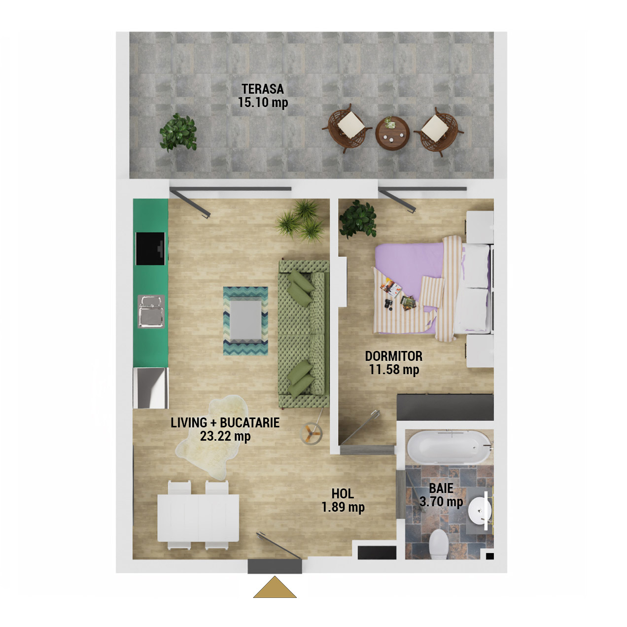 Apartament 2 camere de vanzare Bucuresti - Uverturii Residence - Militari - Lujerului - Gorjului - Tip 4 - T2 - D
