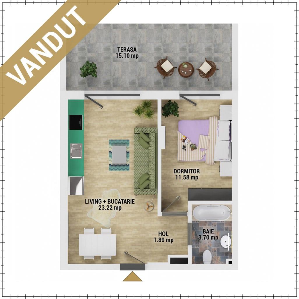 Apartament 2 camere de vanzare Bucuresti - Uverturii Residence - Militari - Lujerului - Gorjului - Tip 4 - T2 - V
