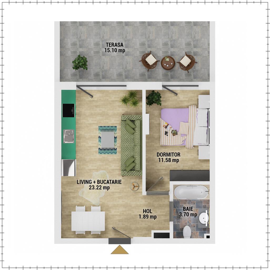 Apartament 2 camere de vanzare Bucuresti - Uverturii Residence - Militari - Lujerului - Gorjului - Tip 4 - T2 - E