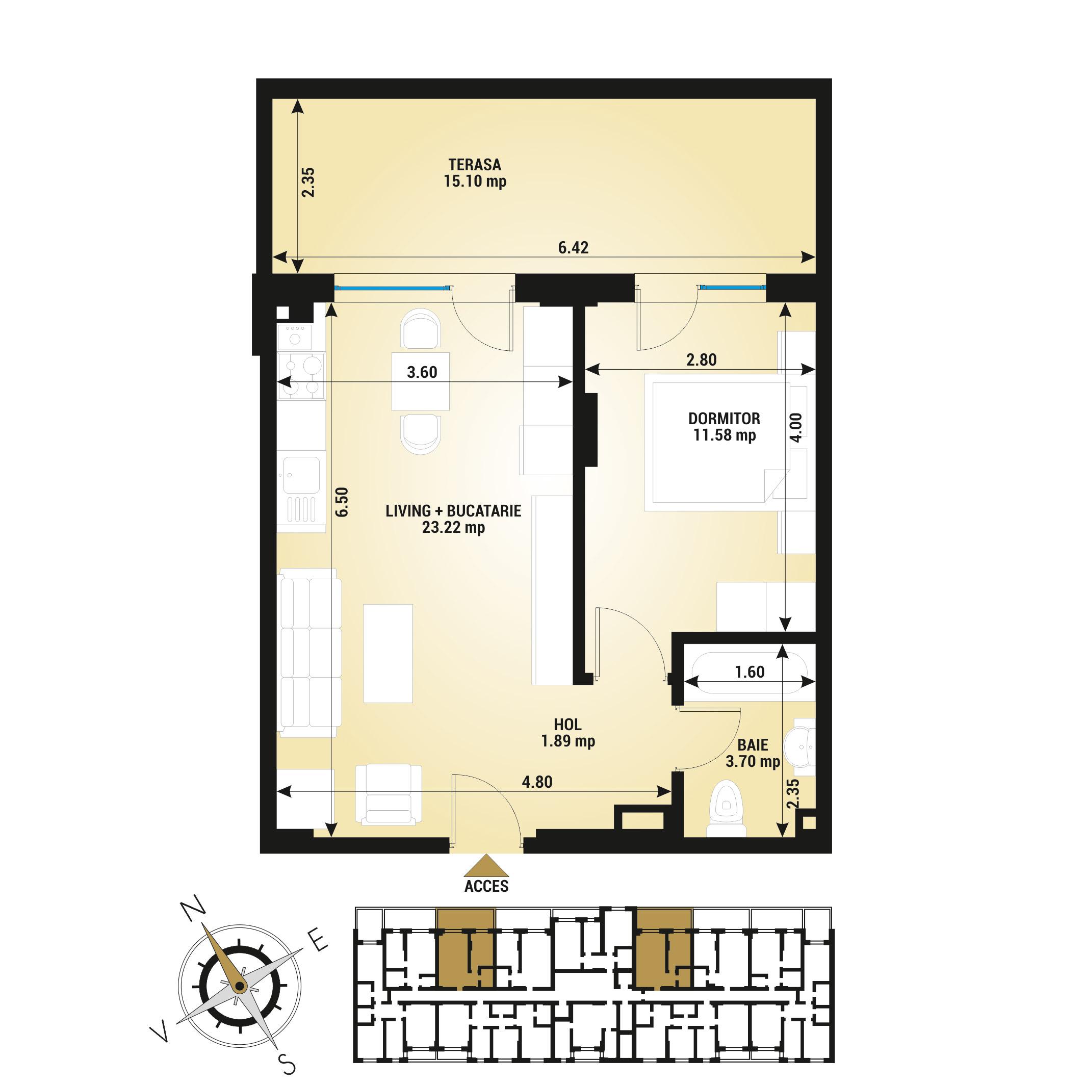 Apartament 2 camere de vanzare Bucuresti - Uverturii Residence - Militari - Lujerului - Gorjului - Tip 4 - T2