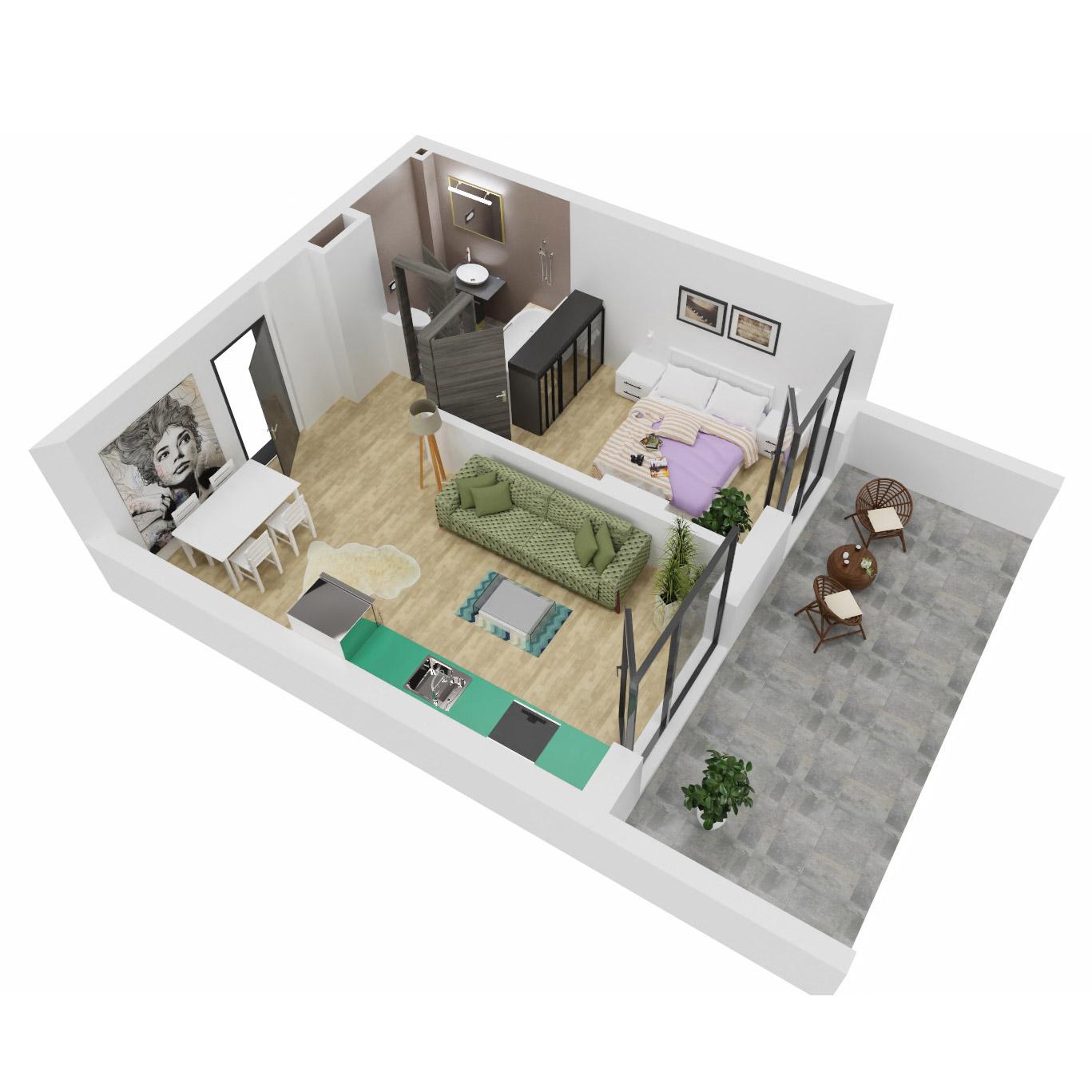 Apartament 2 camere de vanzare Bucuresti - Uverturii Residence - Militari - Lujerului - Gorjului - Tip 5 - T2 - A