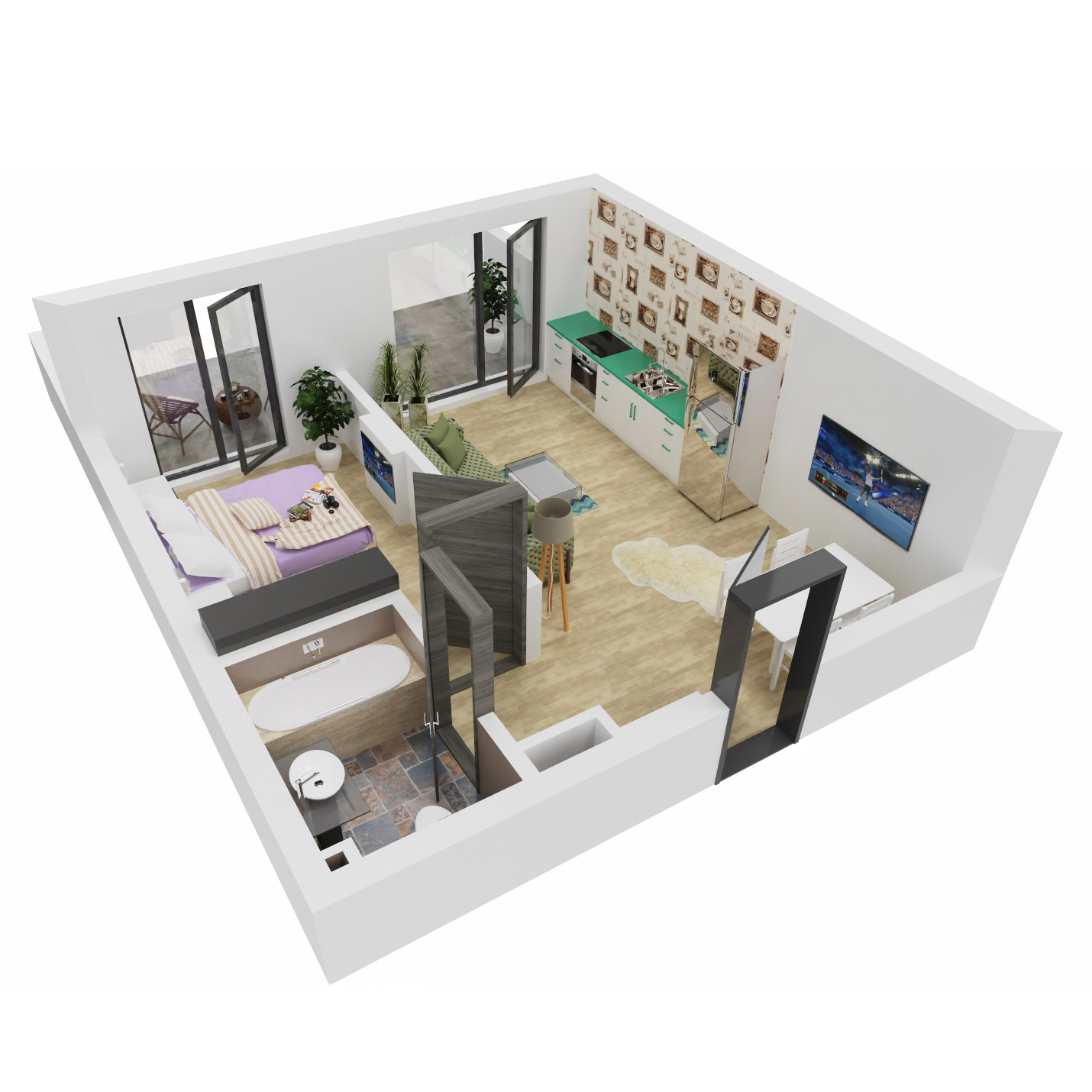 Apartament 2 camere de vanzare Bucuresti - Uverturii Residence - Militari - Lujerului - Gorjului - Tip 5 - T2 - B