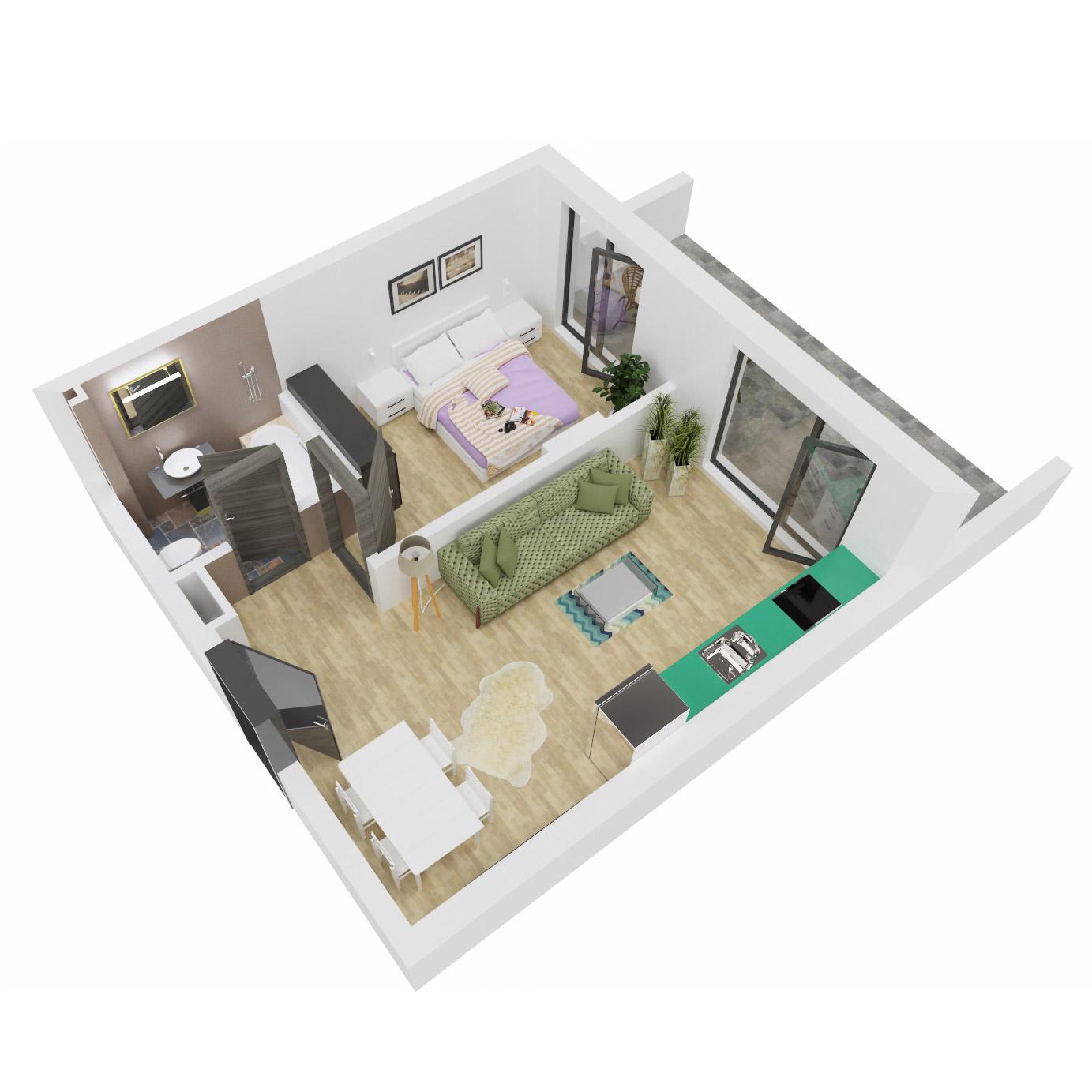 Apartament 2 camere de vanzare Bucuresti - Uverturii Residence - Militari - Lujerului - Gorjului - Tip 5 - T2 - C