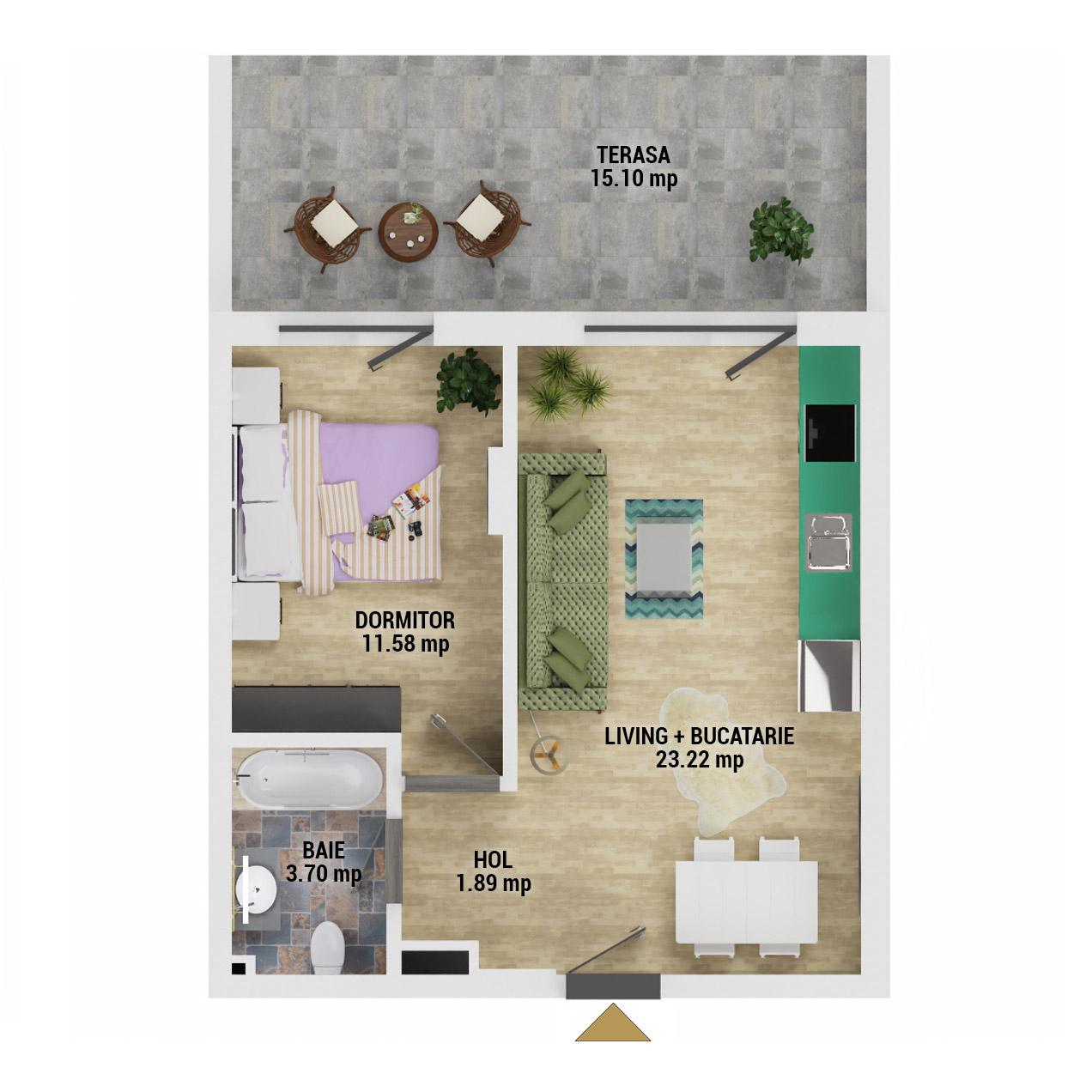 Apartament 2 camere de vanzare Bucuresti - Uverturii Residence - Militari - Lujerului - Gorjului - Tip 5 - T2 - D